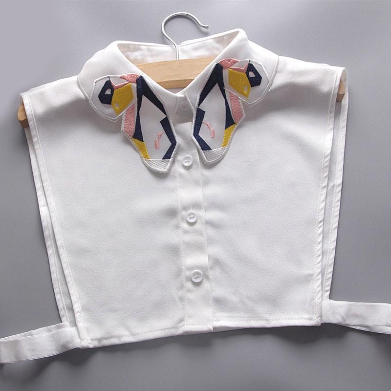 刺繡彩色蝴蝶水晶項鏈背心襯衫假領子立領百搭通勤族OL 襯衫假領YE0045