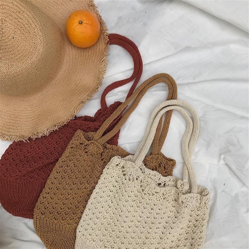 中實拍韓系小清新純色單肩包旅遊度假沙灘包镂空勾針挎包