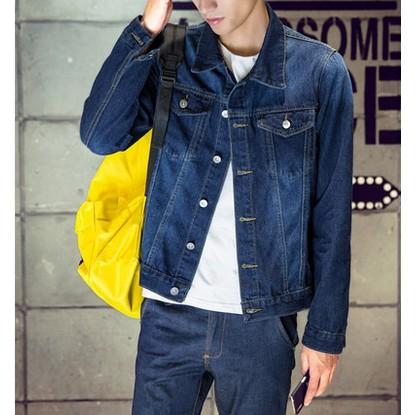 男裝青少年男士牛仔外套男生夾克潮上衣 修身