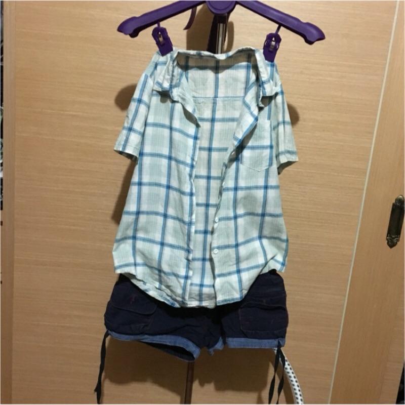 美式 刷舊 風格薄款淺藍短袖柔軟襯衫