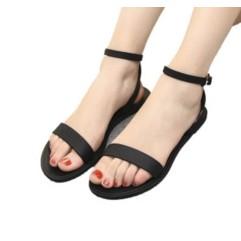 平底涼鞋女夏韓國簡約一字露趾 羅馬鞋 平跟女涼鞋防滑鞋