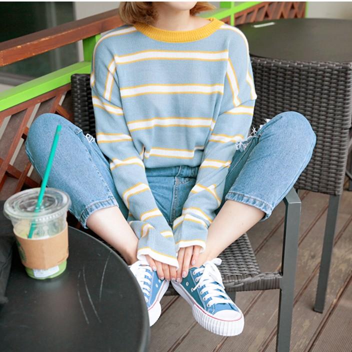 ~ ~秋裝韓國學院風超美撞色條紋針織衫寬鬆顯瘦圓領長袖套頭毛衣兩色