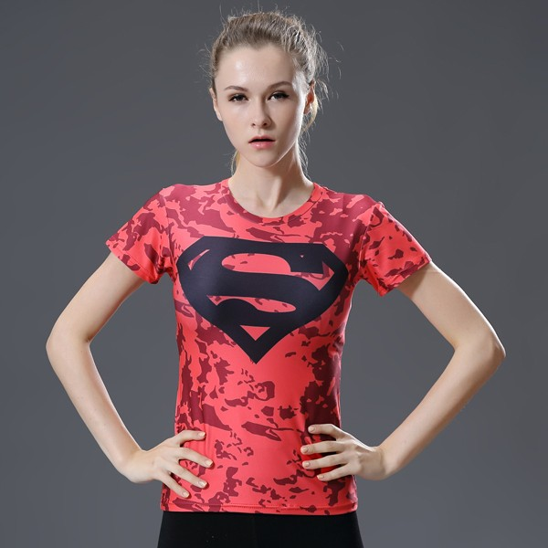 出貨實拍女款數碼印花超人 上衣吸濕排汗透氣 瑜珈健身跑步緊身短袖上衣