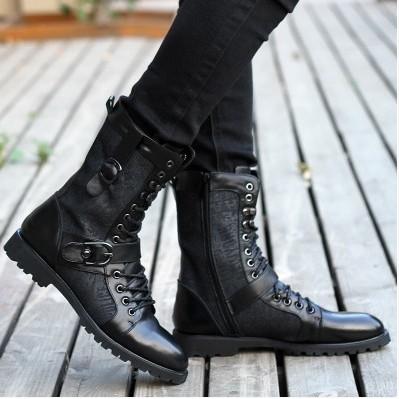 板鞋男透氣 磨砂皮軍靴高幫鞋馬丁靴潮 中筒男靴子黑色