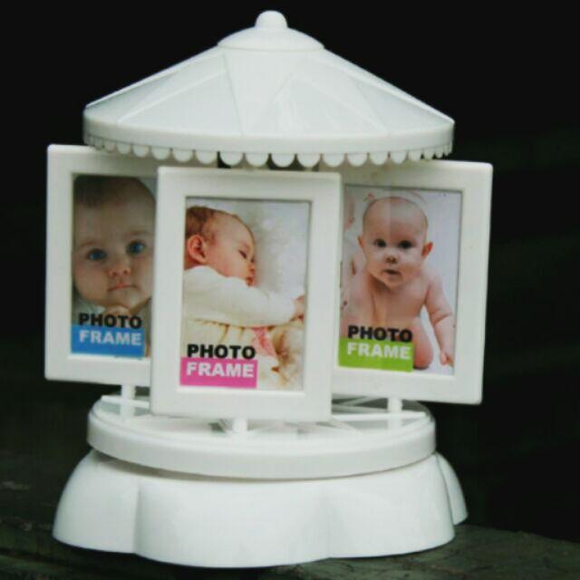 簡約風格旋轉木馬相框簡音樂盒滿月 彌月禮生日  愛家小舖