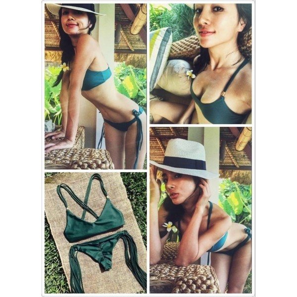 Pita s 度假的好朋友泳衣比基尼金屬邊綁帶褲褲超性感單一色綠色超過C 罩杯不要選此款喲