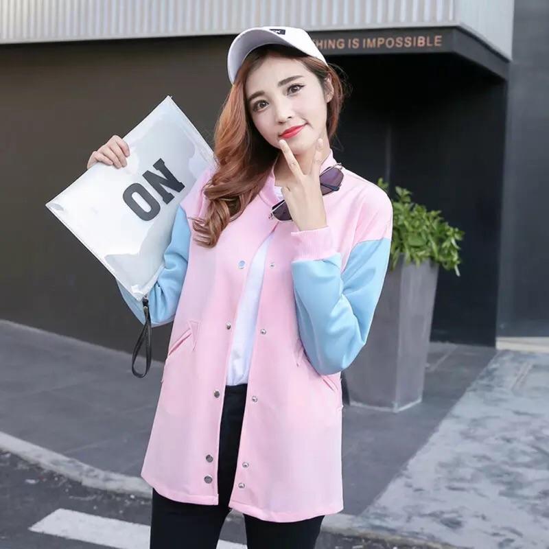 2016 秋裝韓國糖果色拚袖棒球服女學生休閒外套