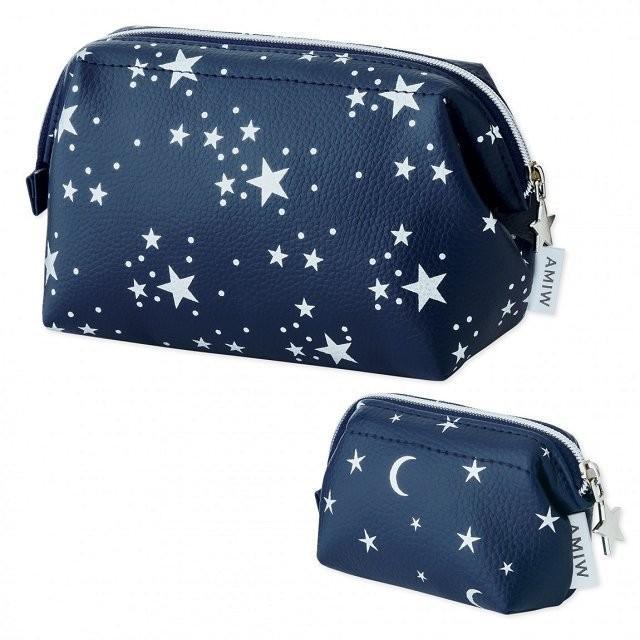 ~Juicy ~ 雜誌附錄附贈星空星星月亮化妝包收納包小物袋筆袋手拿包零錢包口紅包兩件組2
