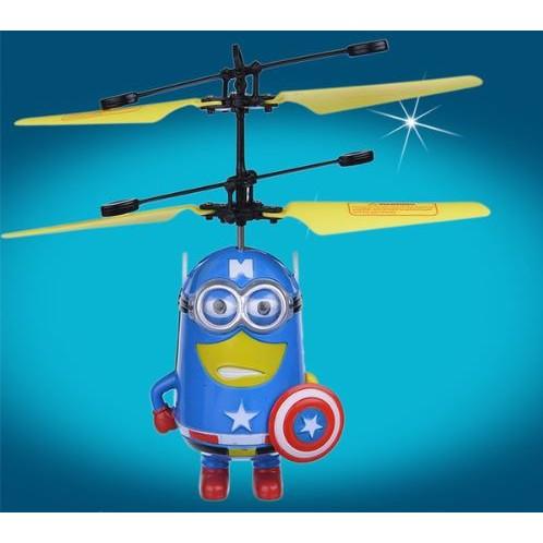 小小兵神偷奶爸美國隊長造形USB 充電感應飛行器小黃人直升機飛行玩具搖控飛機 中