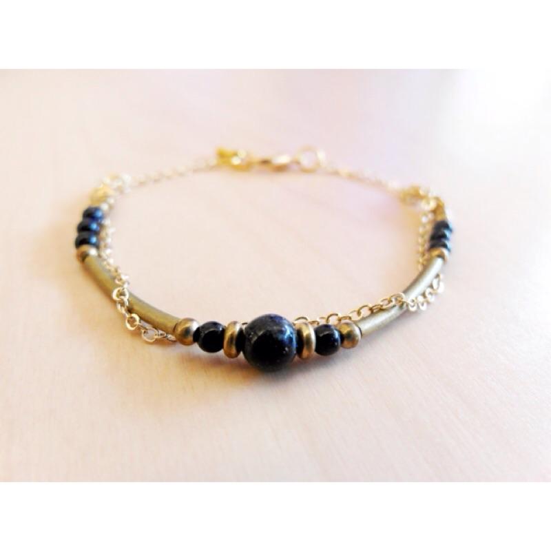 ❤小纏綿❤浪漫藍沙石黃銅鍊