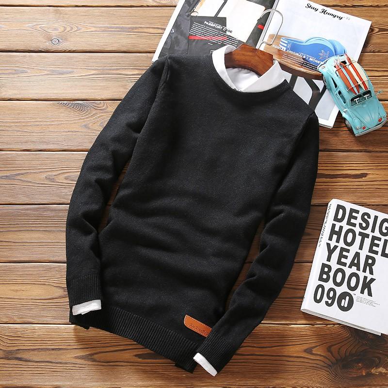 春 男士圓領套頭純色長袖毛衣修身型薄款青少年針織打底衫