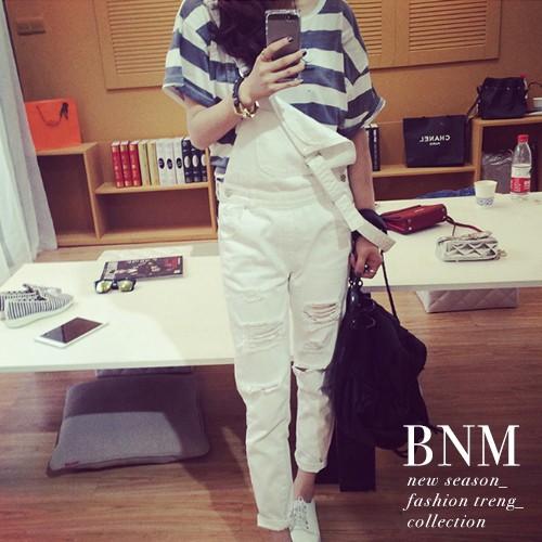 牛仔吊帶褲顯瘦寬鬆破壞感破洞白色牛仔吊帶長褲BNM