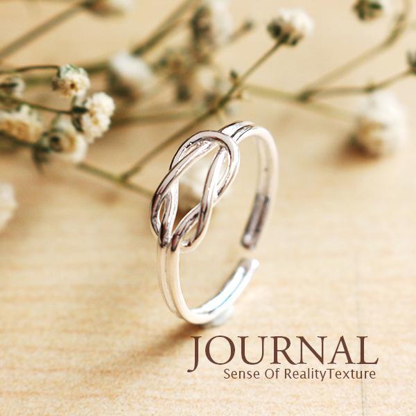 925 純銀簡約線條繩結幾何戒指尾戒指節戒_Journal