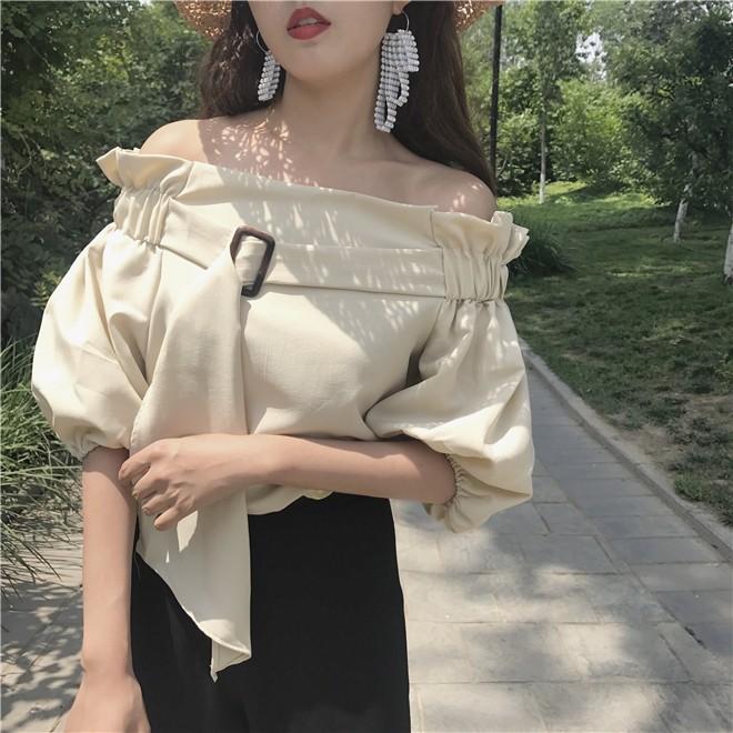 0 上衣T 性感上衣韓國chic 風壹字肩松緊領帶襯衣燈籠袖雪紡上衣女