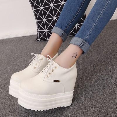 2016 春秋超高跟鞋夜店內增高防水臺松糕厚底坡跟短靴系帶女單鞋