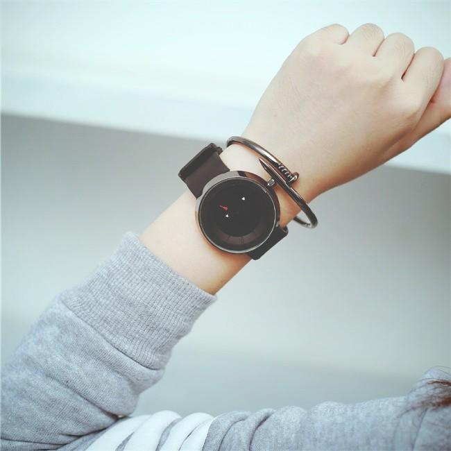 簡約 概念 韓國 潮流 科技學生防水硅帶男女石英手表