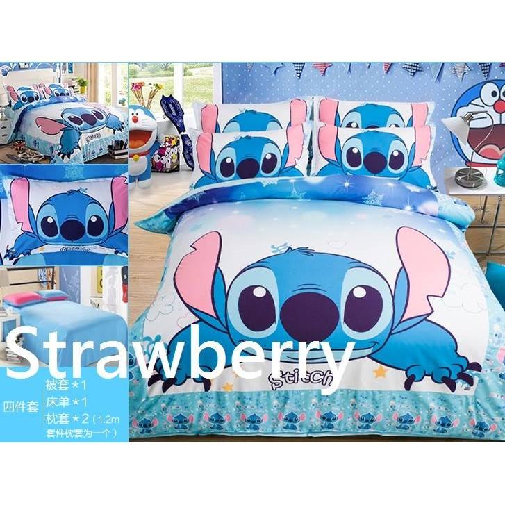 卡通史迪奇單人床雙人床雙人加大動漫床包組床套組床包被套枕頭套純棉床包