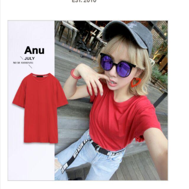 Major made ANU 百搭素色織帶短袖TEE 紅xs