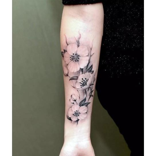 黑色枝葉花朵大圖SY B079 ~LA ❇TATTOO ~手臂花臂防水紋身貼紙刺青貼紙