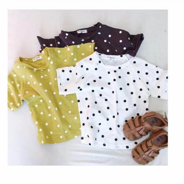一起買~~ ~圓點印花T 、男童、女童、白色、咖啡色、黃色、舒適