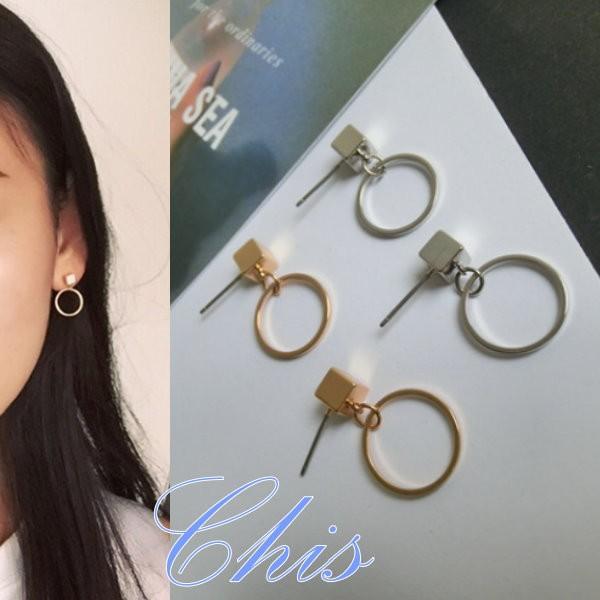 Chis Store ~方塊金屬鏤空圈圈耳環~韓國 正方形耳針四方型 圓圈圓形圓環垂墜耳飾