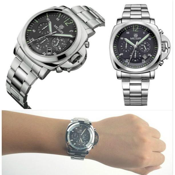 款美格爾MEGIR 大錶面真三眼日期 型男潮流鋼帶腕錶沛納海風格款式~S C ~柒