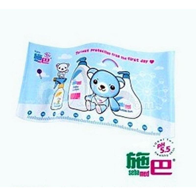 Sebamed 施巴100 純棉 可愛熊熊兒童卡通浴巾包巾沙灘毛巾洗澡巾身高尺浴巾粉藍色