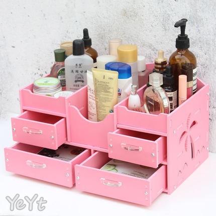 ~Ye Yt ~DIY 5mm 椰風4 抽B 防水加厚板桌面化妝品收納盒收納架 粉色白色