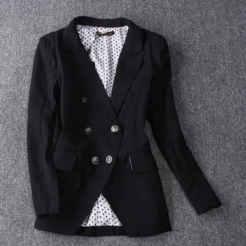 追加款OL 職場風雙排扣英倫風修身小西裝大翻領外套