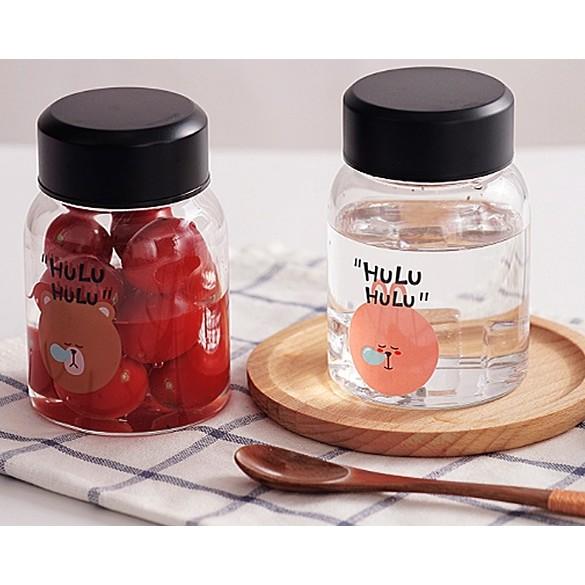 w n 韓國可愛HULU 小熊小兔動物玻璃水瓶花茶瓶水果茶瓶牛奶玻璃瓶水果水瓶儲藏瓶情侶款