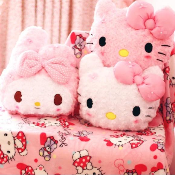 ~ ~櫻花款玫瑰絨KT 貓美樂蒂melody 抱枕法蘭絨毯毛毯毯子靠墊抱枕空調毯兩用
