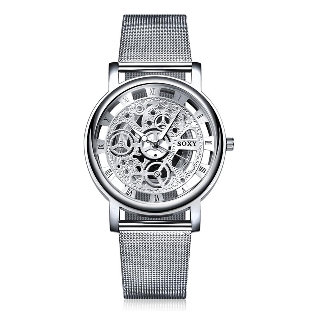 男士奢華鏤空機械表銀色手錶