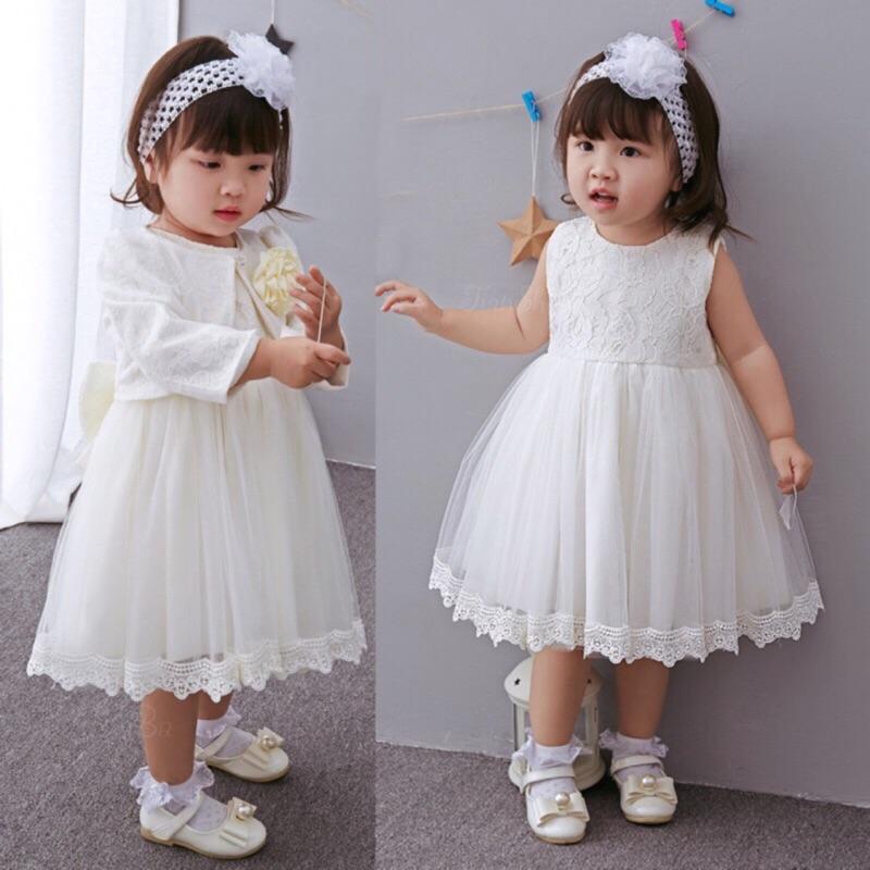 曈曈Baby 2016 寶寶白色禮服套裝滿月周歲嬰兒蕾絲公主風外套女童連衣裙