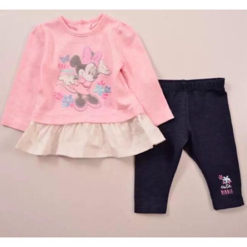 ⛱ ⛱女童寶寶迪士尼米妮長袖上衣T 恤仿牛仔褲子長褲套裝
