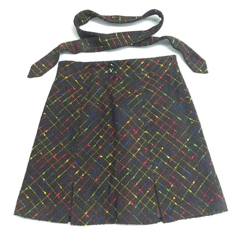 ~馬麻的 衣~深咖啡色羊毛毛料毛呢糖果七彩格紋短裙腰帶HiDeSan 海蒂山~112400