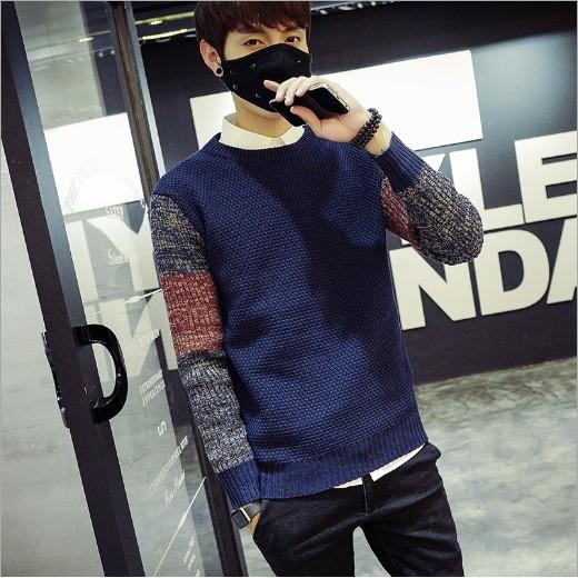秋 男士毛衣圓領套頭青少年針織衫學生修身 毛衣男生線衣潮