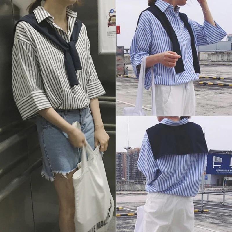 領口披肩綁帶寬鬆豎條紋棉麻五分袖襯衫上衣