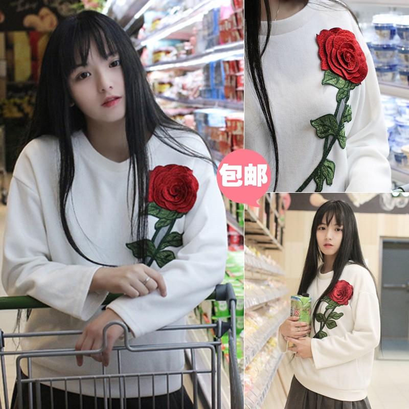 殺價丶韓國 秋裝 韓國學院風 百搭針織套頭刺繡玫瑰花衛衣圓領 上衣