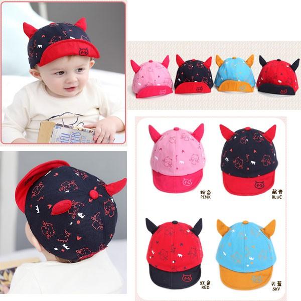 寶貝 館 一對貓耳 棒球帽男女兒童遮陽帽純棉遮陽帽寶寶嬰兒棒球帽 帽兒童帽