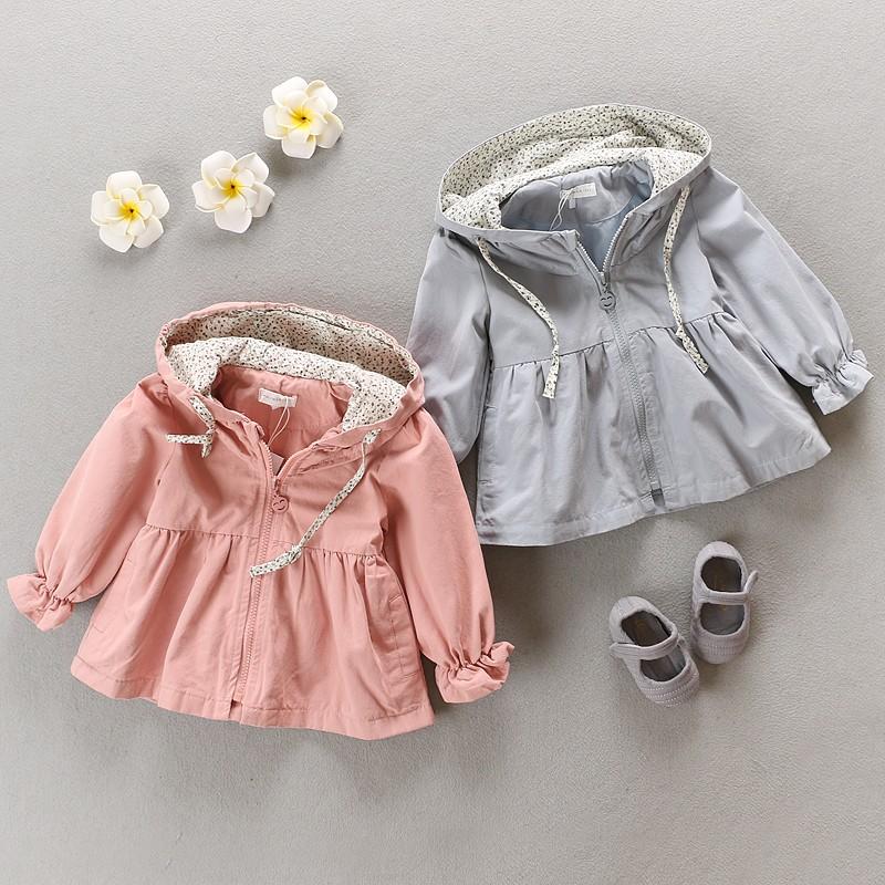 女寶寶秋裝風衣外套純棉0 1 2 3 歲嬰兒外套小童風衣 外出衣服