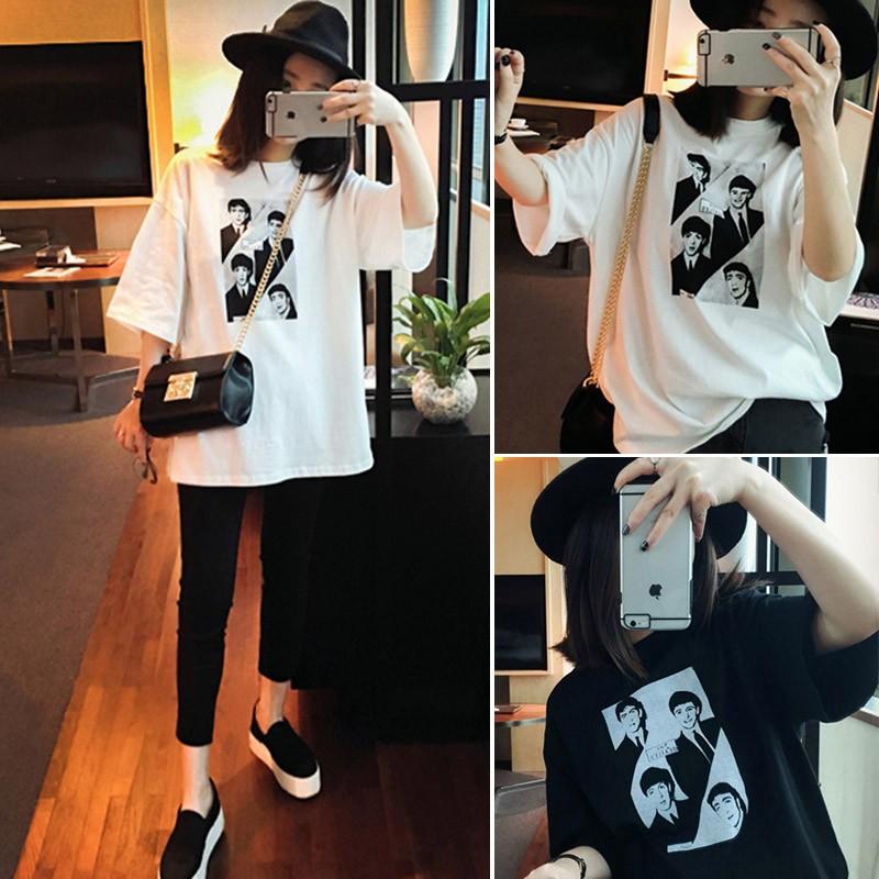 黑(白)色 韓系人像圖案印花圓領短袖T 恤寬鬆顯瘦打底上衣長版t 恤大學t 學生女生