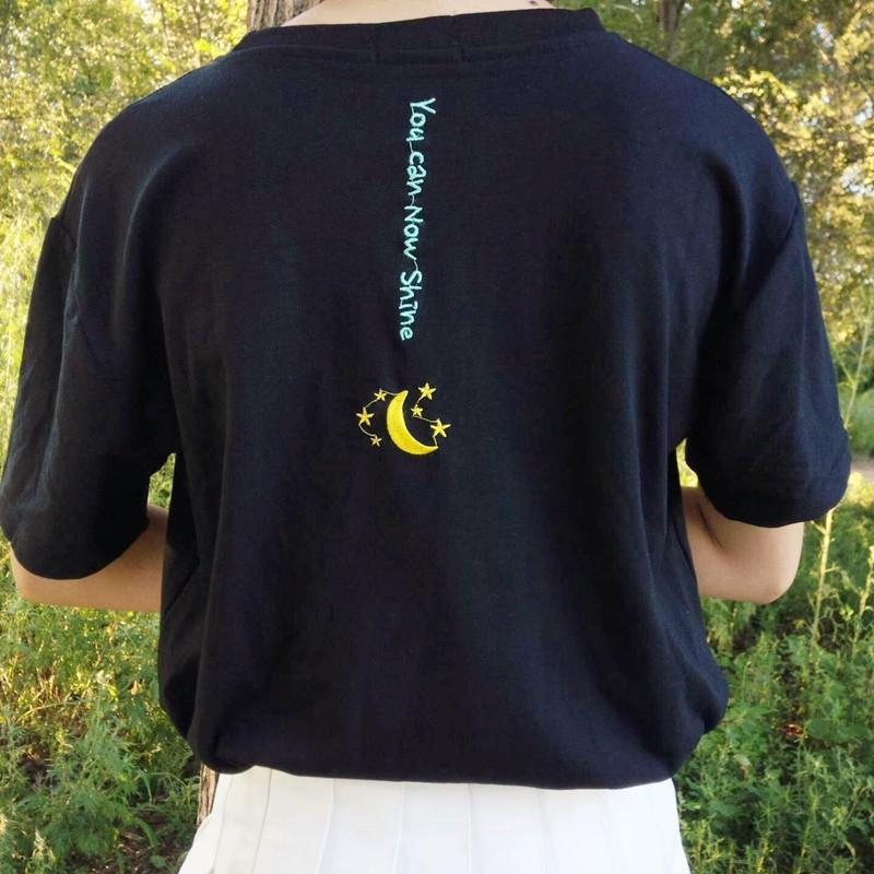 簡約背後字母月亮星星刺繡短袖T 恤上衣