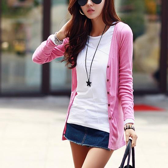 多色(有 )女中長版薄款外搭修身防曬外套針織外套棉開衫長袖外套防晒衣7MPS