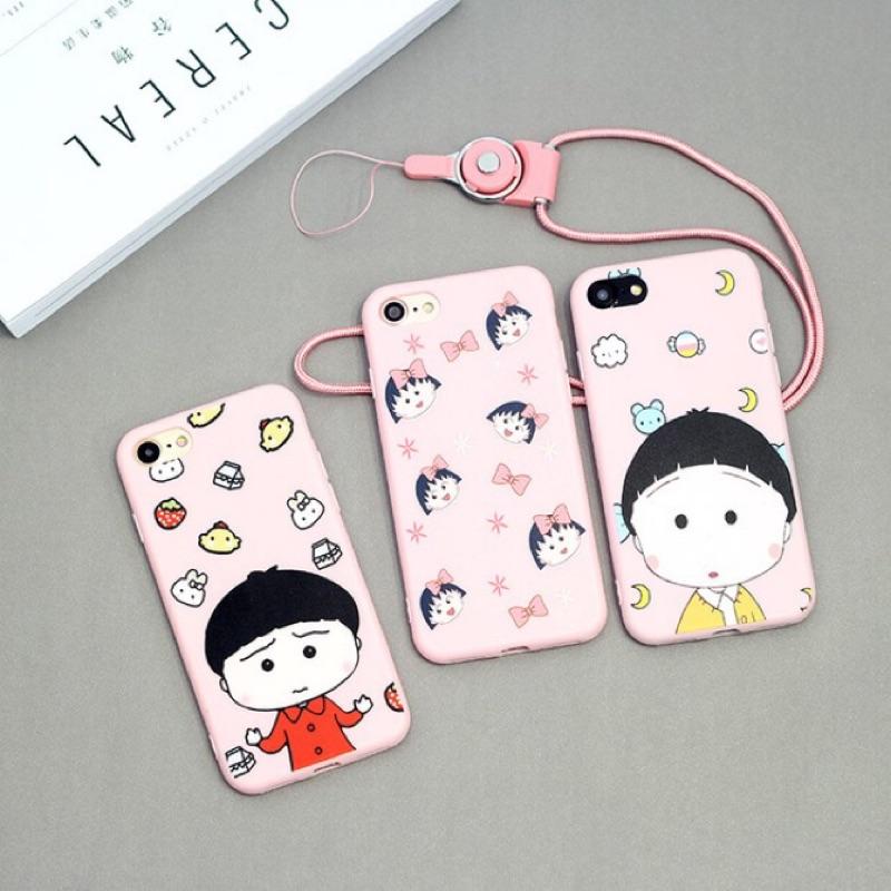 iphone7plus 粉嫩卡通小丸子iphone7 手機殼掛繩6 6s 可愛KT 蘋果6