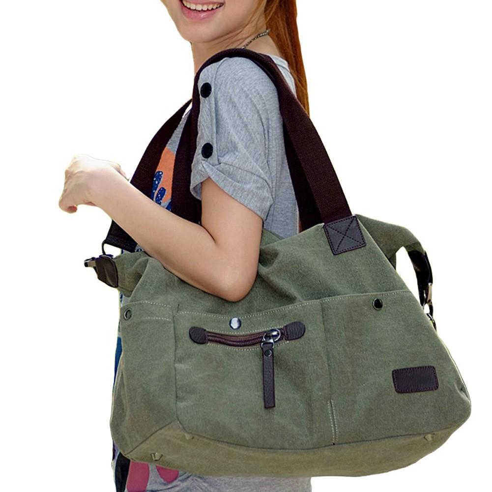 女包單肩包帆布包大容量兩用肩帶 斜挎包手提包旅行包 簡約復古男款女款手袋帆布大容量