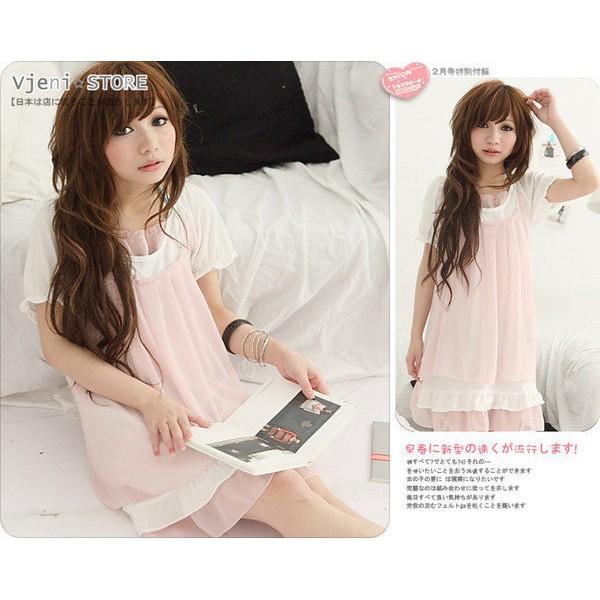 浪漫氣質款日系後綁帶假兩件荷葉裙襬雪紡長洋裝只有粉色