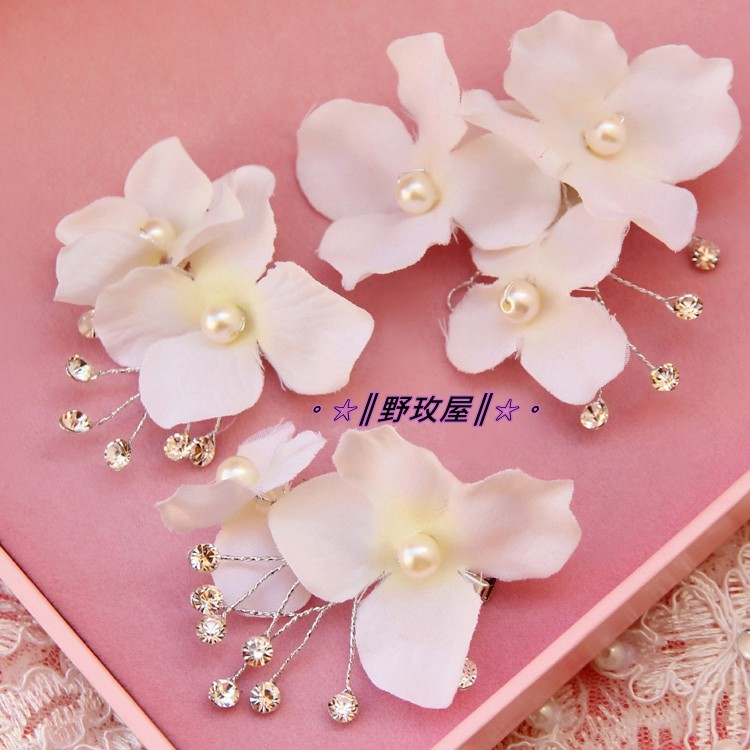 ~~║野玫屋║~~新娘飾品婚紗禮服 攝影舞台配飾樂楓韓式新娘髮飾套裝頭飾