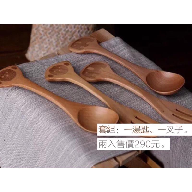 超Q 動物兒童湯勺叉子套裝餐具木質湯匙叉子