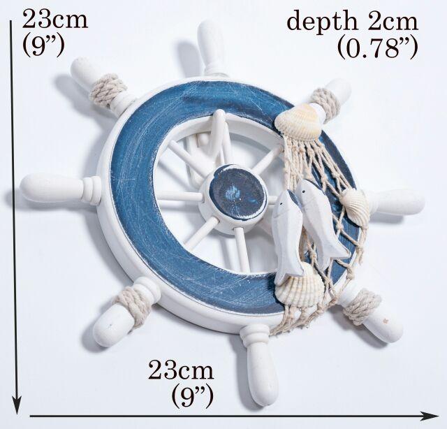 地中海23cm 輪舵藍 舵手海洋系列帆船棉麻zakka 木質貝殼