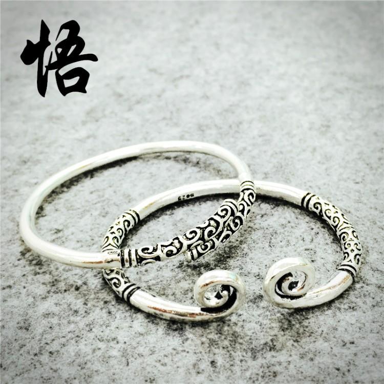 緊箍咒手鐲大聖孫悟空如意金箍棒手環男女情侶一對簡約潮純銀電鍍